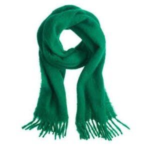 J. Crew Italian Brushed Green Wool Scarf